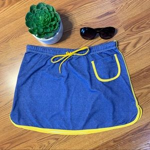 Aaron Chang athletic beach skirt jean look, small